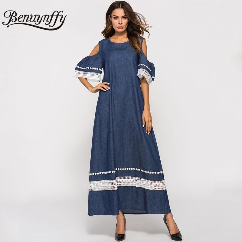 4335301f06 Benuynffy Cold Shoulder Lace Trim Solid Denim Long Dress Summer Women Round  Neck Short Sleeve Casual