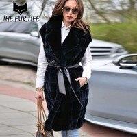 Оптовая продажа, акция, меховой жилет, пальто с натуральным мехом кролика, жилет с воротником, Осень зима, универсальные куртки с тонким пояс