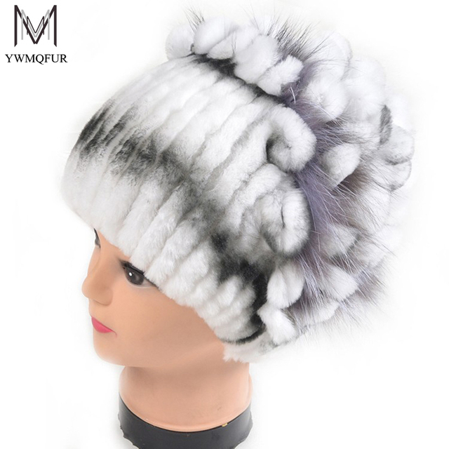 Winter fur hat for women real rex rabbit fur hat with silver fox fur flower knitted beanies 2017 new sale high-end women fur cap