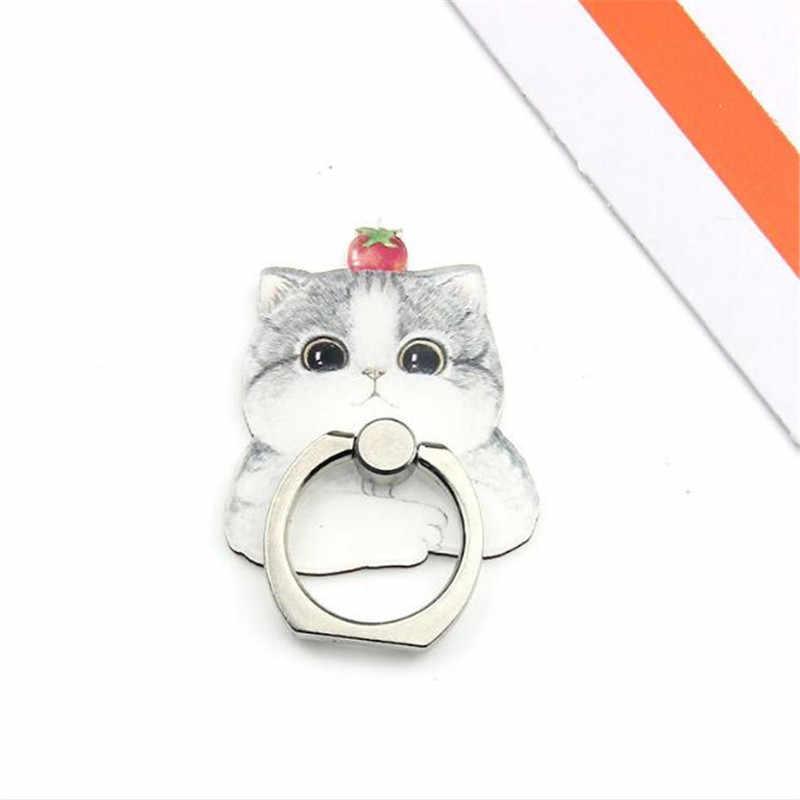 Adorável bulldog husky gato persa suporte do telefone móvel titular anel de dedo titular smartphone suporte para xiaomi huawei todo o telefone
