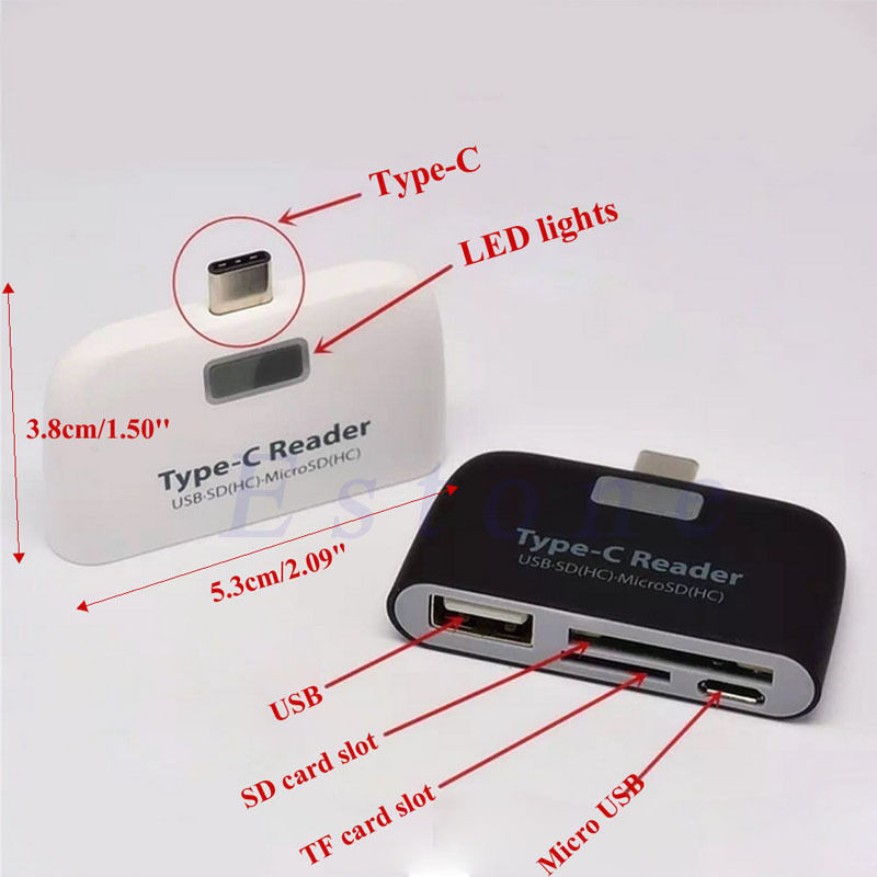 3 in 1 USB 3.1 Type C USB-C TF Micro OTG Card Reader For Macbook Phone Tablet