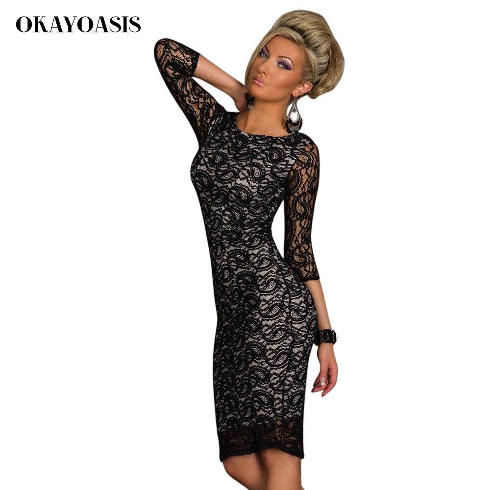 OKAYOASIS Frauen Elegante Enges Kleid Dreiviertel Sleeves Vestidos ...
