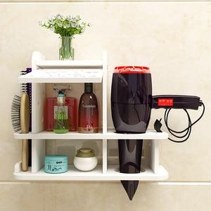 Image 3 - Półka ścienna w uchwyt łazienkowy do suszarki do włosów półka toaletowa bezpłatny stojak do kąpieli Estante Prateleira De Parede akcesoria łazienkowe