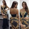 Nova Sereia Vestidos de Noite 2017 Sexy Ouro Appliqued Tule Azul Escuro Vestidos de Baile Longo Frisado Formal Vestidos de Festa ASAE32