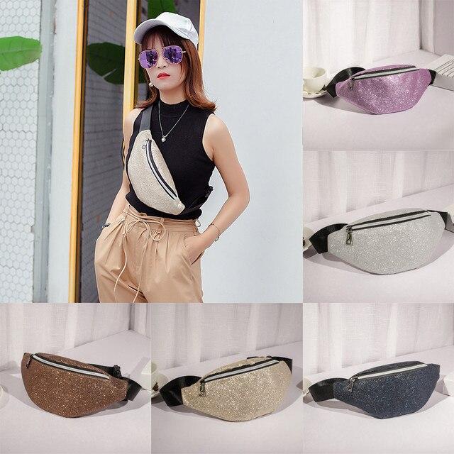 Fashion Women leather bag Bling Sequins Shoulder Bag Messenger Chest Bag fanny pack waist bag fanny pack