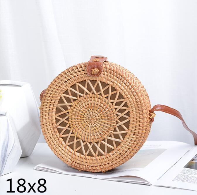 Woven Rattan Bag Round Straw Shoulder Bag Small Beach HandBags Women Summer Hollow Handmade Messenger Crossbody Bags 9