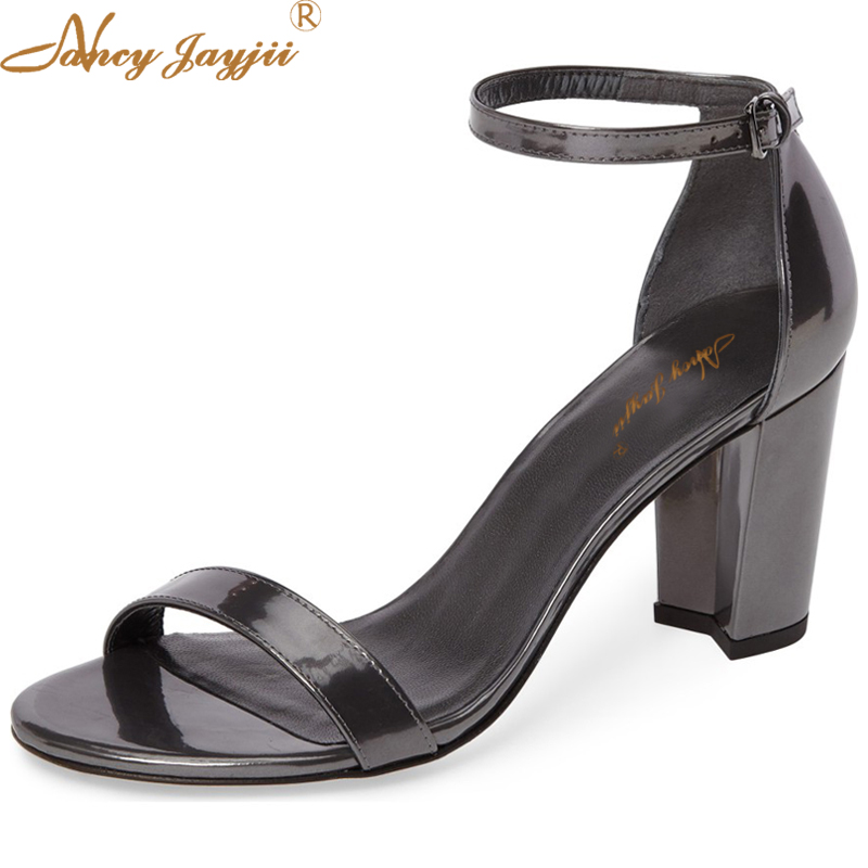 Black White Summer Patent Leather Sandals Ankle Buckle Strap Open Toe High Thick Heel Gladiator Casual Party Shoes Nancyjayji hot selling denim blue ankle strap buckle high heel sandals cut out thick heel gladiator sandals for women summer dress shoes