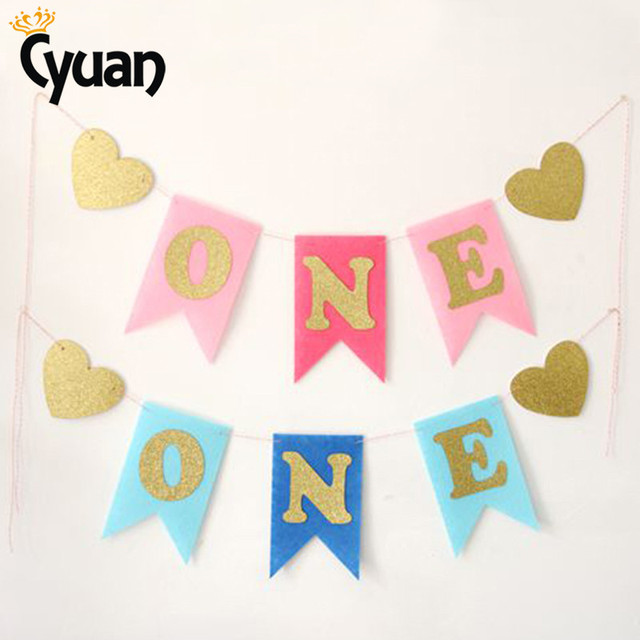 cyuan 1set one garland banner birthday party decoration baby 1