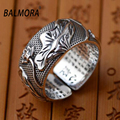 BALMORA 100% Real 999 Pure Silver Ring Flowers & Buddhistic Scriptures Retro Rings for Women Gifts High Quality Bijoux SY20726