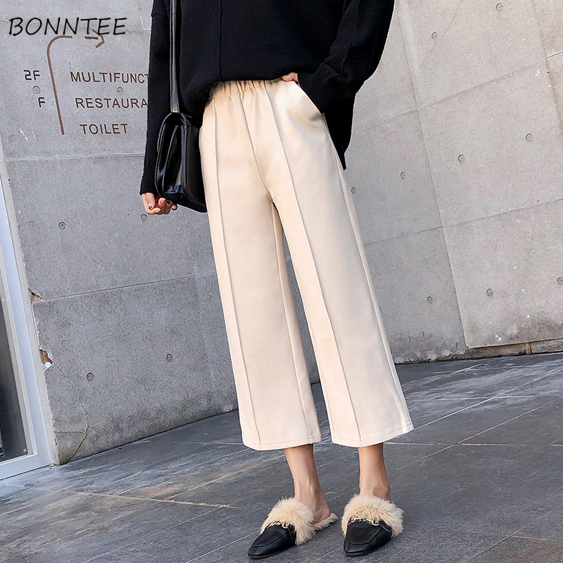 Pants   Women Trendy High Waist Thicker Woolen Winter Chic Womens   Wide     Leg     Pant   Ladies Korean Leisure Simple Graceful Warm Elastic