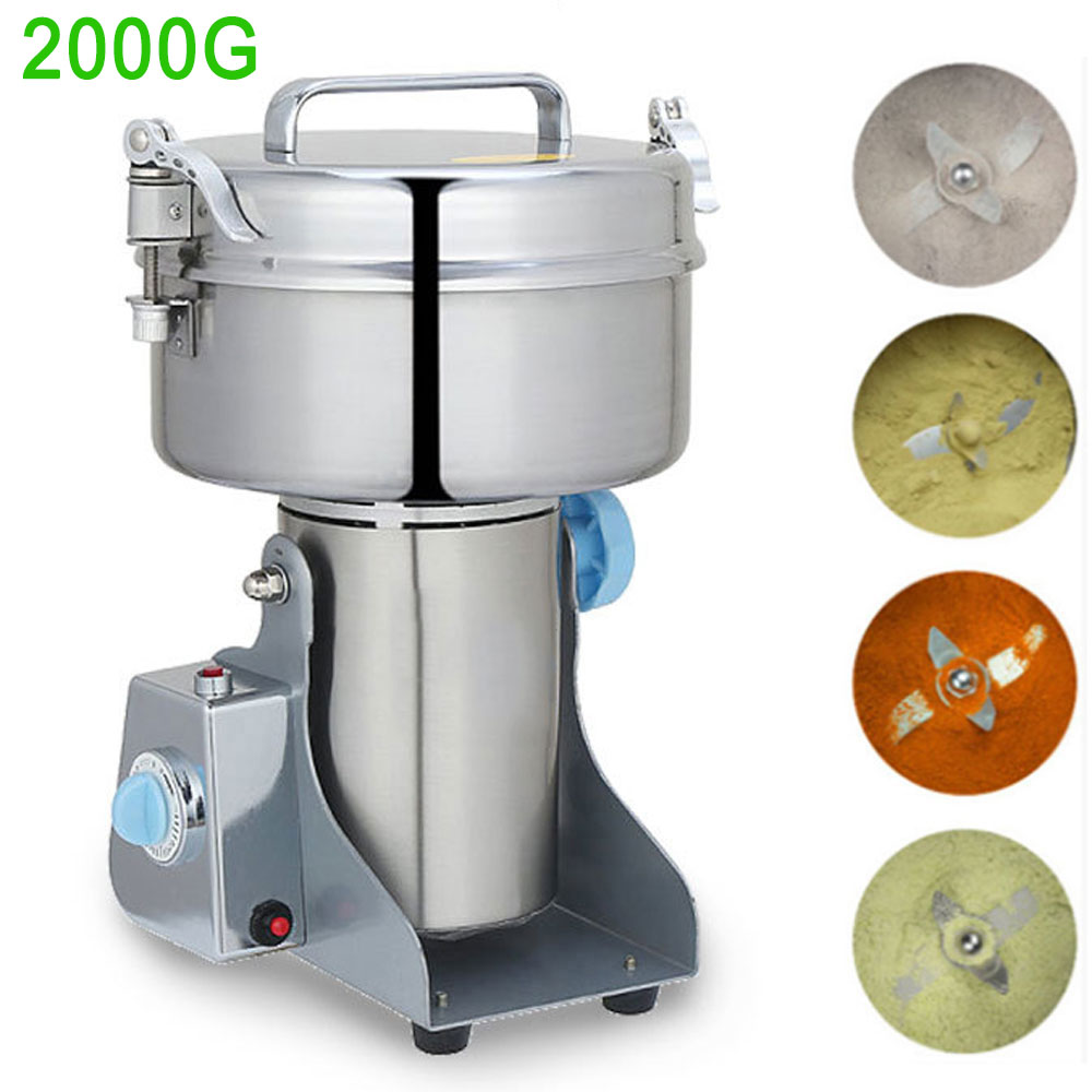 Household 4.4lbs Flour Mill Powder Machine Electric Grinding Miller 110V or 220V Stainless Steel Baby Rice Powder Maker Machine bear 220 v hand held electric blender multifunctional household grinding meat mincing juicer machine