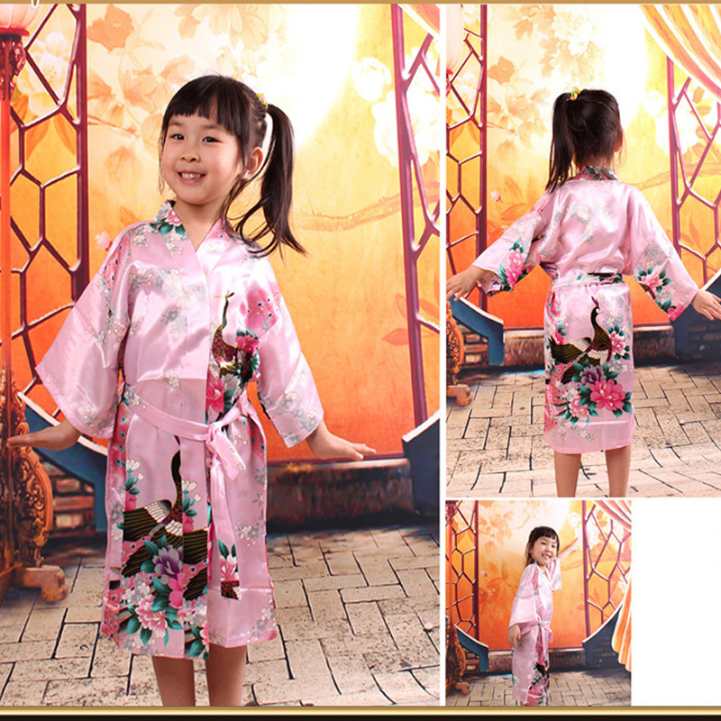 2bcff5526e Peacock Kids Robe Satin Children Kimono Robes Bridesmaid Flower Girl Dress  Silk children s bathrobe Nightgown Kimono robe 010613