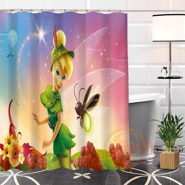 Eco Friendly Custom Unique Popular Tinkerbell Fabric Modern Shower Curtain Bathroom Waterproof For Yourself H0220