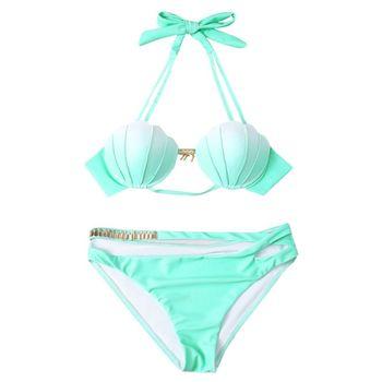 Bikini Buscando Trajes Baño Ropa Las Mujeres De Kit Piezas Set Shell Sexy Dos Traje MUVSzp
