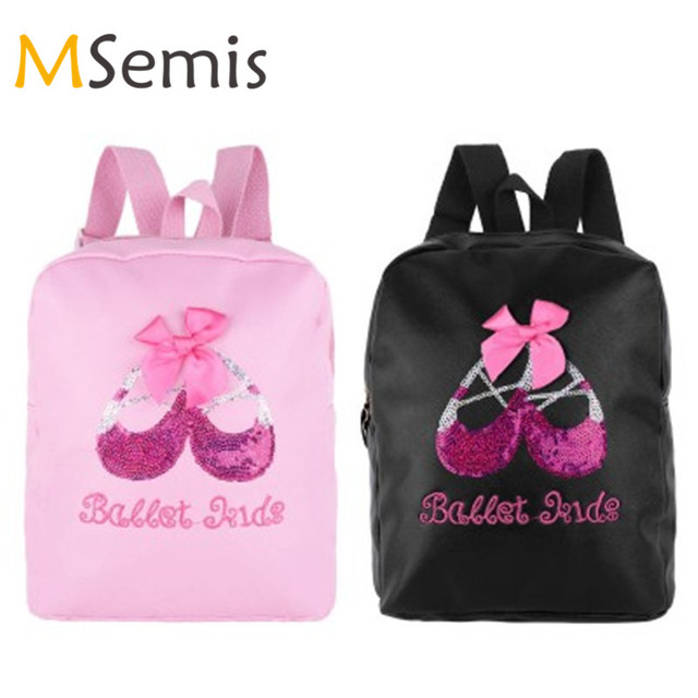 Kids Girls Ballet Bag Students Gym Bag School Backpack Sequins Toe Shoes  Embroidered Shoulder Bag Backpacks for Children Girls