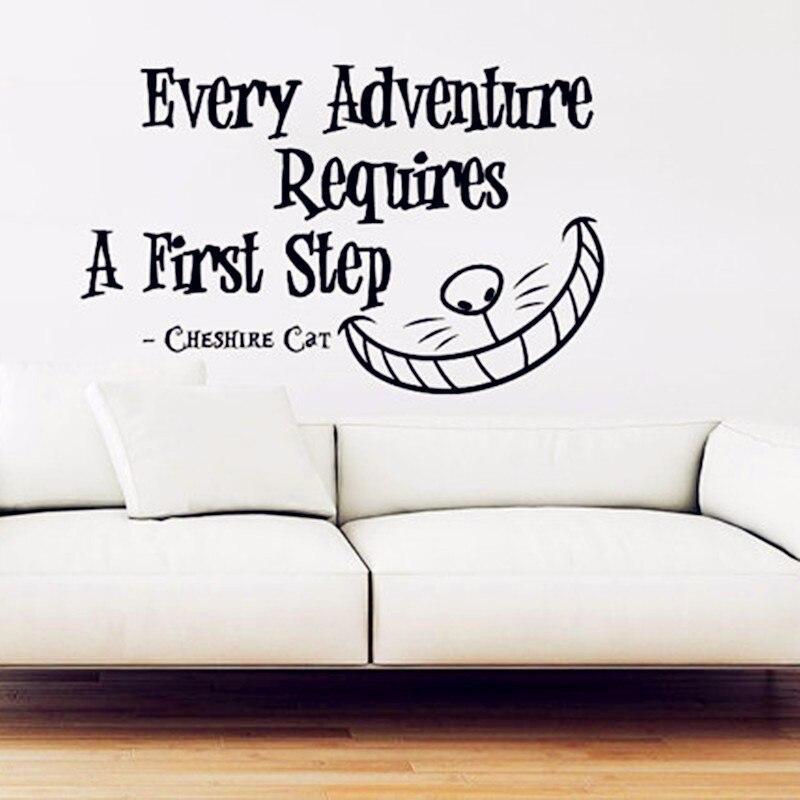 Алиса в стране чудес виниловые наклейки на стены каждого Приключения требует первый шаг Чеширский кот Цитата стены Дети Детские Декор B668