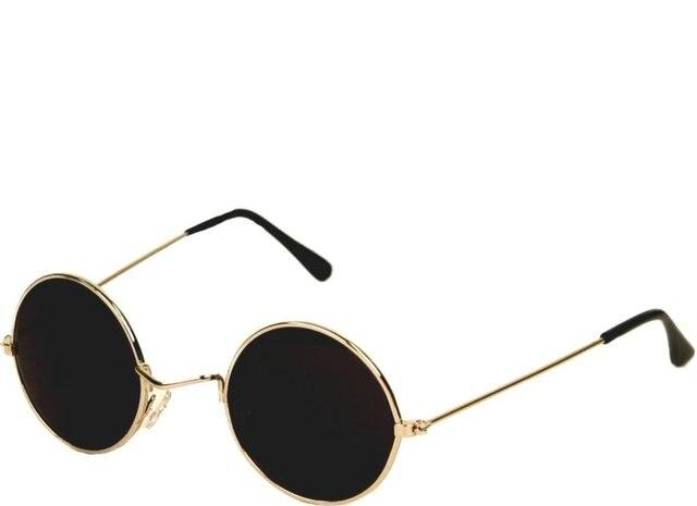 34c67451209 60 s John Lennon Style Round Gold Frame  Black Lens Sunglasses-in ...