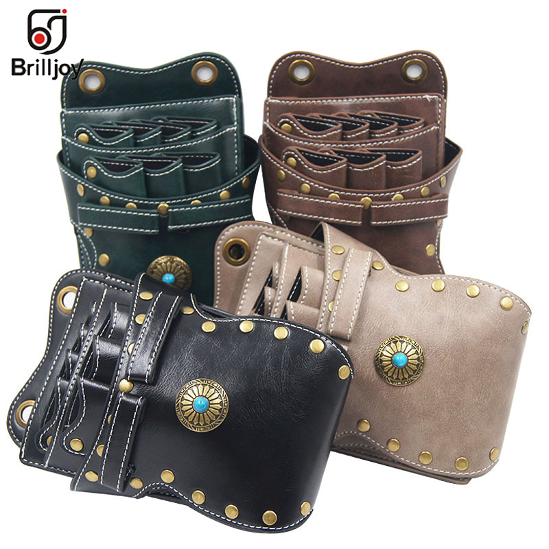 PU Leather Classical Style Salon Barber Scissors Bag Scissor Clips Shears Bags Tool Hairdressing Holster Pouch Holder Case Belt