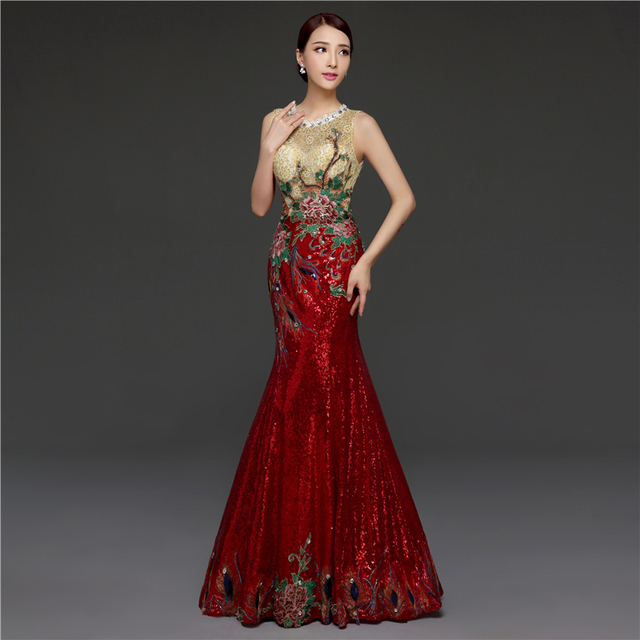 Embroidery Oriental Evening Dress Keyhole Back Mermaid Red Sequin No
