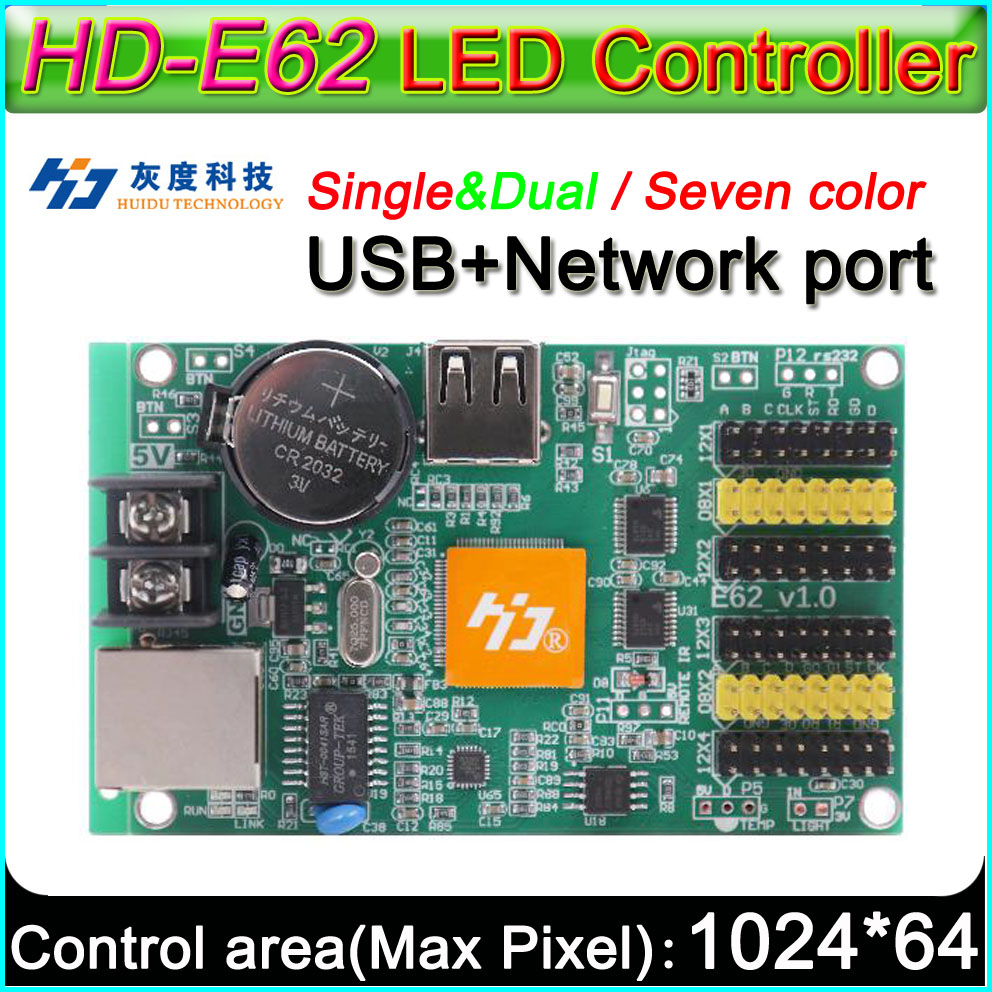 HD -E62 LED Display  Controller, Single&double Color P6 P10 LED Sign Control Card,With Full Color Module Support Seven Color
