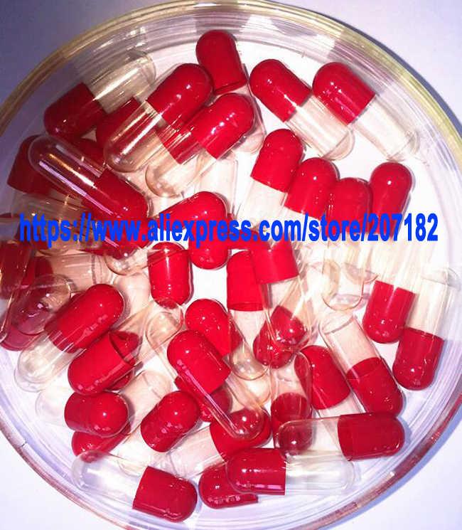 (10,000 adet/grup) boyutu 0 Kırmızı/Şeffaf Renkli Sert Boş Jelatin Kapsül Içi Boş Kapsül 0 #-Üstleri ve Dipleri Ayrılmış