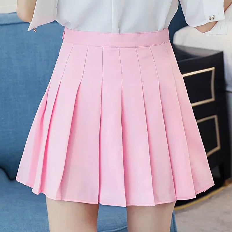 Ulzzang Mini Pleated Skirt Women Summer 2019 Harajuku Kawaii Skirts Womens Korean Schoolgirl Streetwear High Waist Skirts