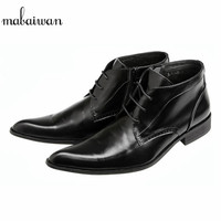 Mabaiwan Genuine Leather Men Shoes Winter Autumn Ankle Boots Pointed Toe Wedding Dress Shoes Men's Short Military Cowboy Flats