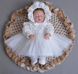 Платье для крещения для маленьких девочек, 3 шт. в комплекте белое платье для крещения для новорожденных девочек, Кружевная повязка на голов...