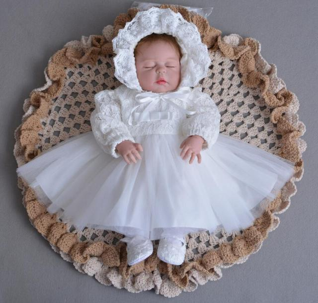 160ca96386e 3PCs per Set Baby Girl Baptism Dress Off White Infant Girl Christening Gown  Lace Silver Crown Headband Embroidery Hat 0-24Months