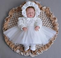 3PCs per Set Baby Girl Baptism Dress Off White Infant Girl Christening Gown Lace Silver Crown Headband Embroidery Hat 0 24Months