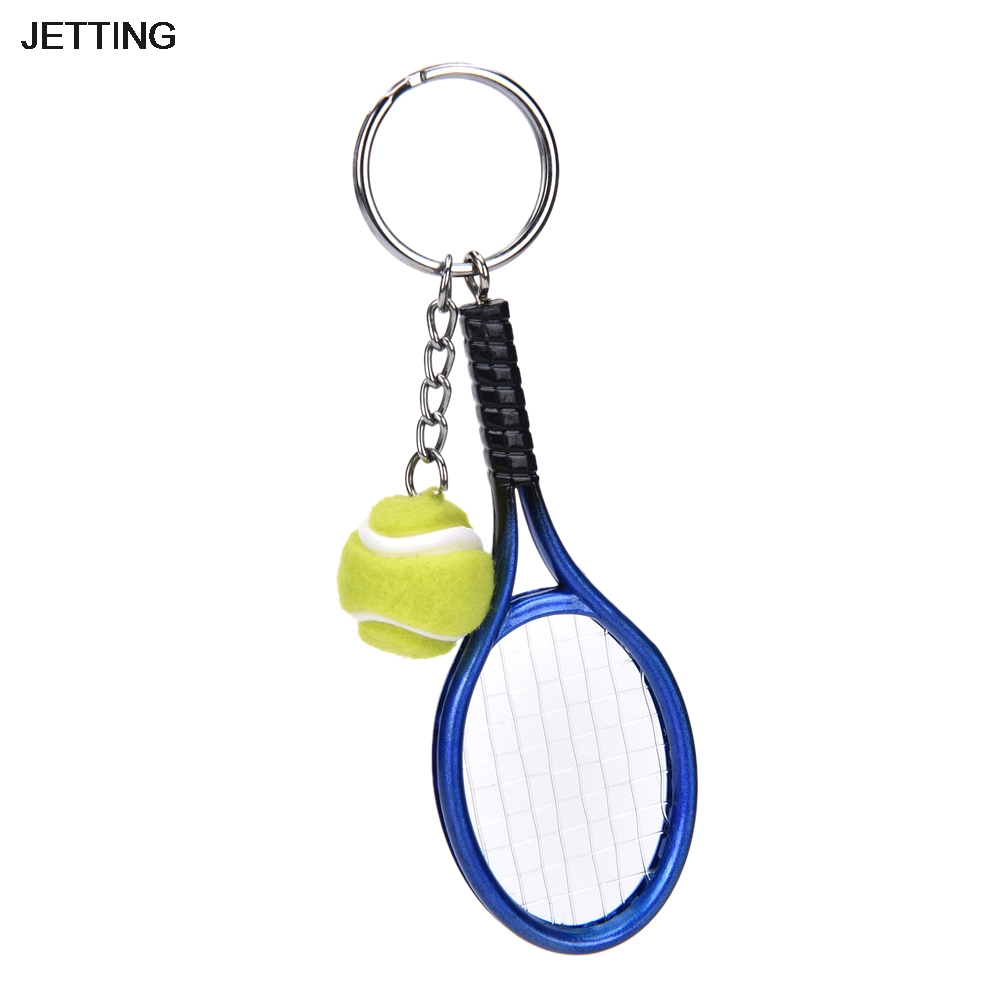 Beautiful Jetting 1pc Mini Tennis Shape Keychain Bag Phone Accessories Sports Style Key Chains Car Accessories Novel (In) Design;