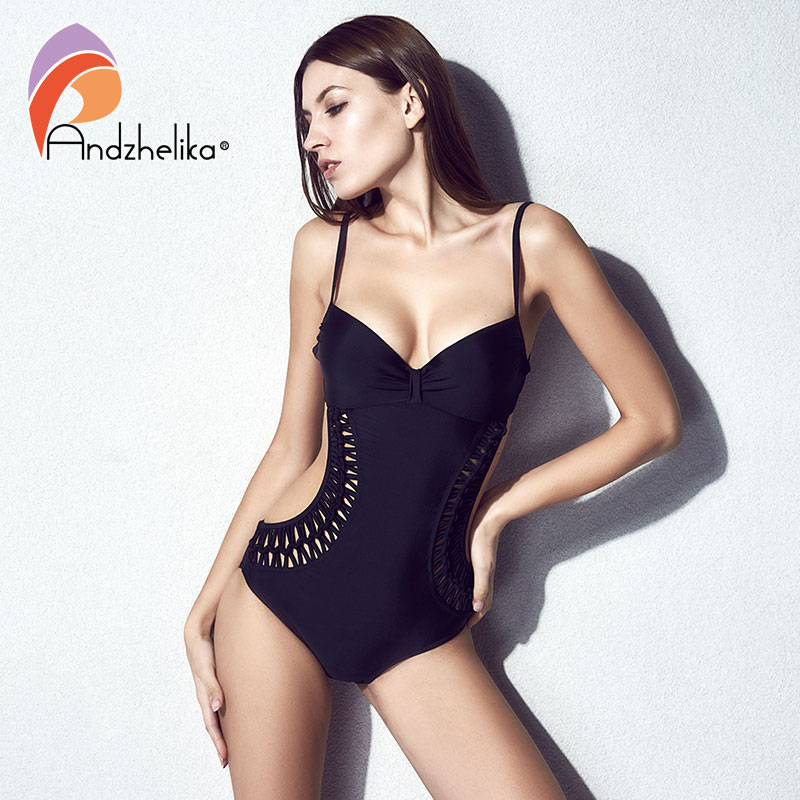 Andzhelika 2018 One Piece Swimsuit Women Sexy Hollow Out Swimwear Weaving Swimwear High Waist Bodysuits Bathing Suit Monokini pair of chic flouncing hollow out weaving knitted leg warmers for women