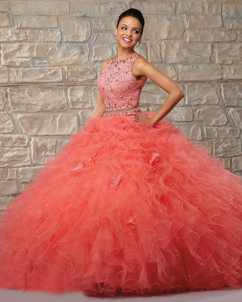 2 Piece Quinceanera Dresses Ball Gowns Off Shoulder Coral Beige ...