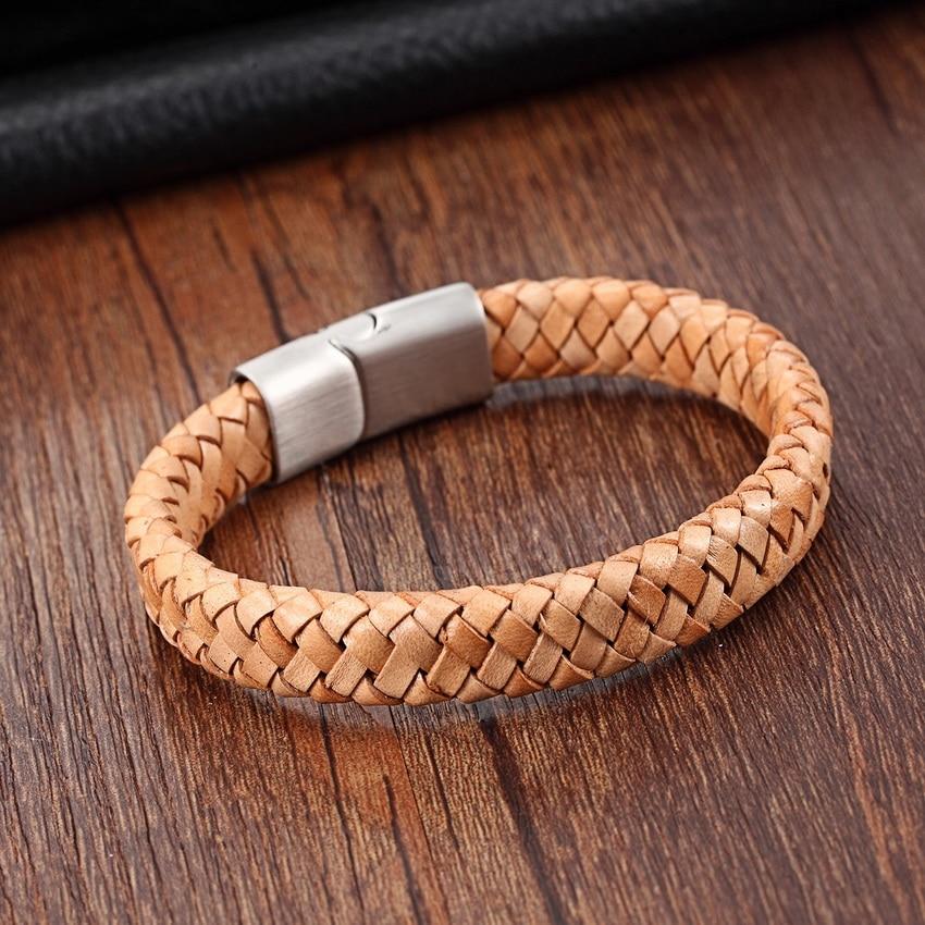 XQNI Top kvalitet 3 farve flettet ægte læder armbånd til mænd - Mode smykker - Foto 4