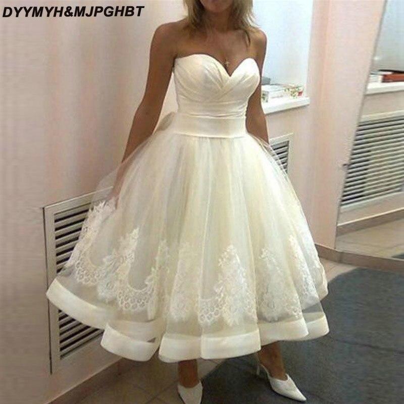 Simple Short Beach Wedding Dresses 2019 Sweetheart Pleat