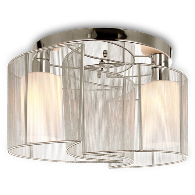 Dining Room, Bedroom 2 Light Semi Flush Mount Ceiling Light With Glass  Shade And Cloth