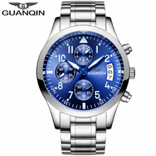 Фотография relogio masculino GUANQIN Watches Men Business Casual Chronograph Calendar Luminous Clock Men