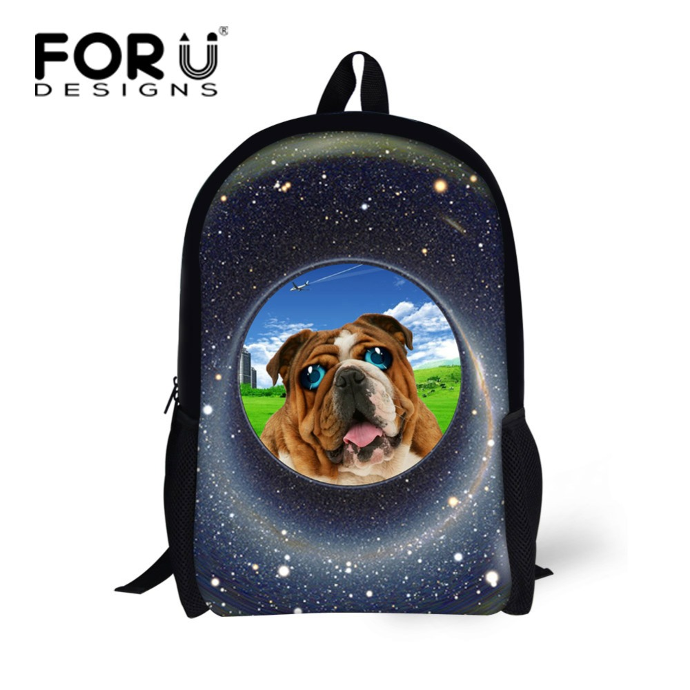 FORUDESIGNS Fashion School Backpack Girls Cute 3D Pet Dog Animal Printing Kids Backpack Casual Women Back Pack Mochila Infantils forudesigns casual backpack for women men large cute animal cat dog printing college student school backpack laptop bags mochila