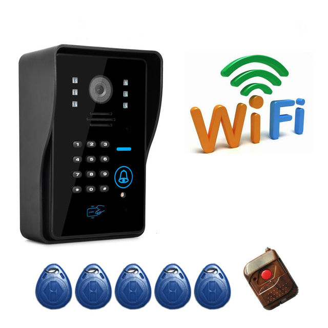 Wireless WiFi Remote Video Door Phone Intercom Doorbell Camera P2P Cloud with RFID Keyfobs,Remote Controller App android IOS