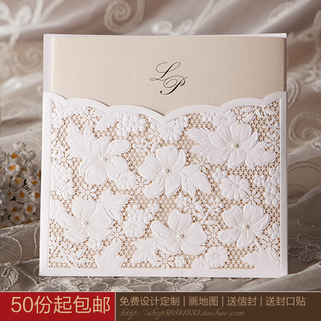 Quality Wedding Invitations Invitation Card Fashion Cutout Lace Personalized White Commercial
