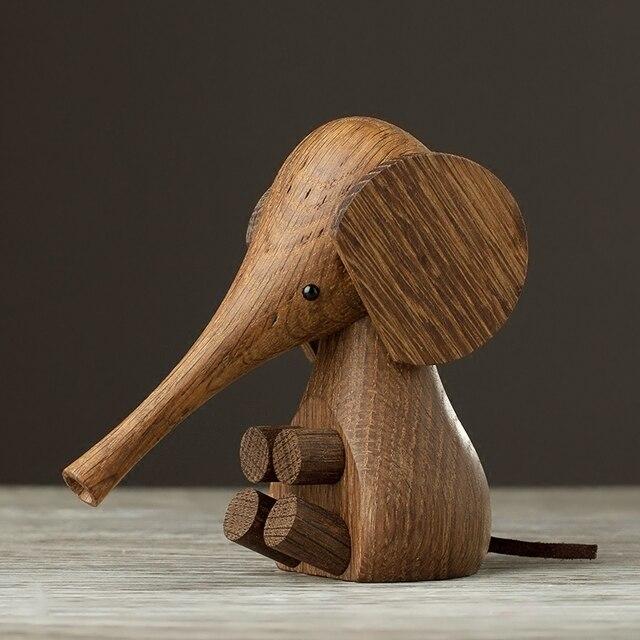 Elephant Children Living Room Decoration Wood Nordic Simple Creative Home Furnishing Gift Art Animal Dolls
