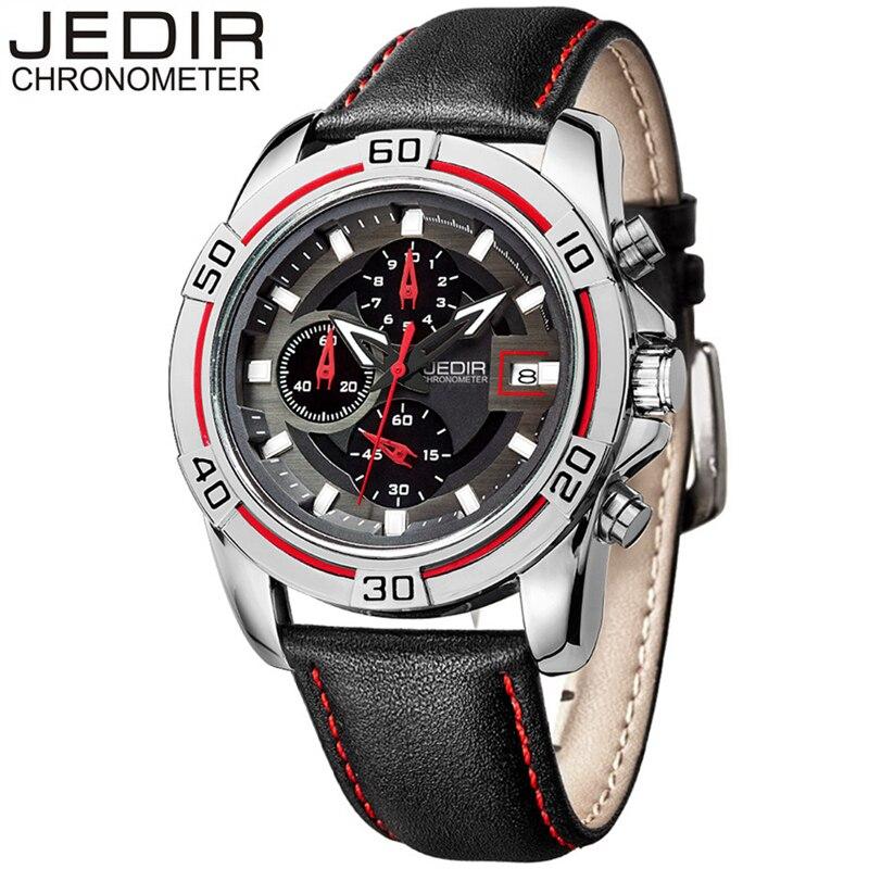 JEDIR Watches Luxury Men Quartz Wristwatch Fashion Chronograph Auto Date Leather Bracelet Stop Watch Male relogio Masculino 2023