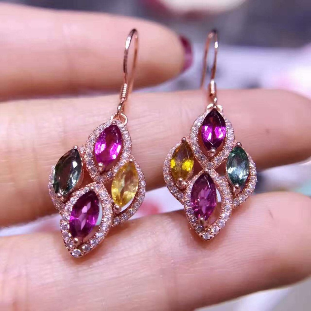 natural color tourmaline stone drop earrings 925 silver Natural gemstone earring women fashion Luxury drop earrings for party natural stone geometry drop earrings page 9