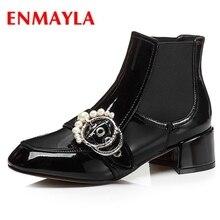 ENMAYLA  Basic Round Toe Winter Shoes Women Slip-On Ankle Boots Fashion 2018 Size 34-40 LY228