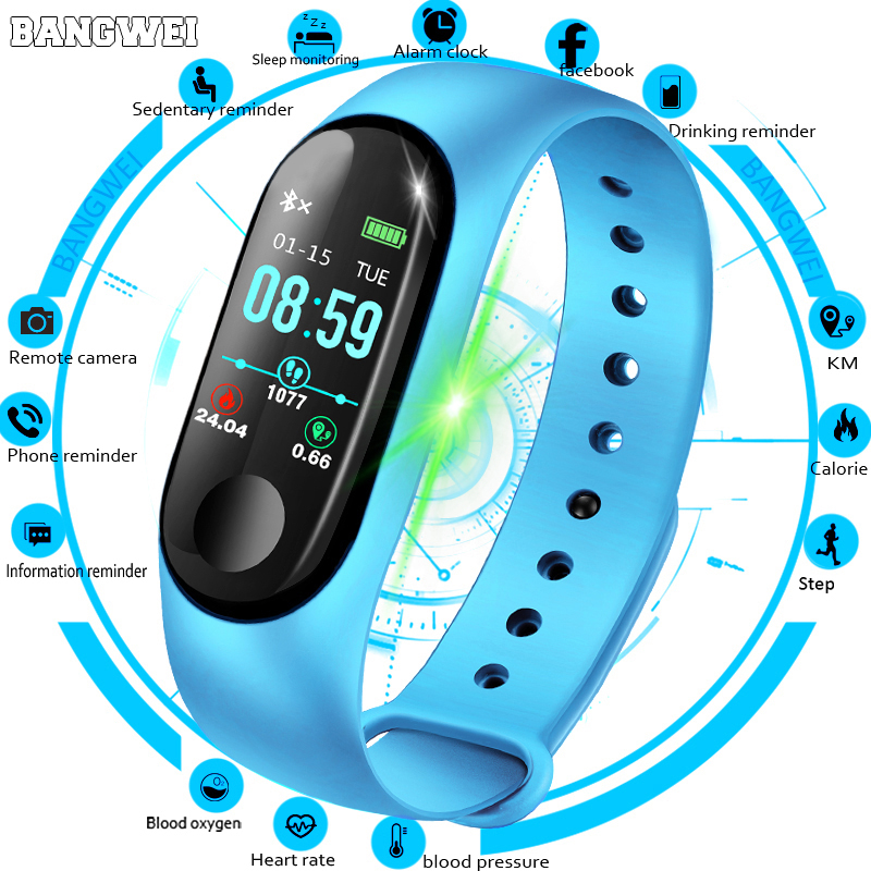 BANGWEI Women font b Smart b font Watch Men Heart Rate Blood Pressure oxygen Sleep Monitor