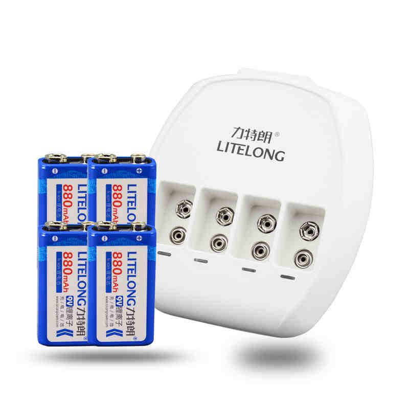 4 pezzi/litelong li-lon 880 mah 9 v batteria tensione nominale 9 v + 1 smart 4 slot caricatore4 pezzi/litelong li-lon 880 mah 9 v batteria tensione nominale 9 v + 1 smart 4 slot caricatore