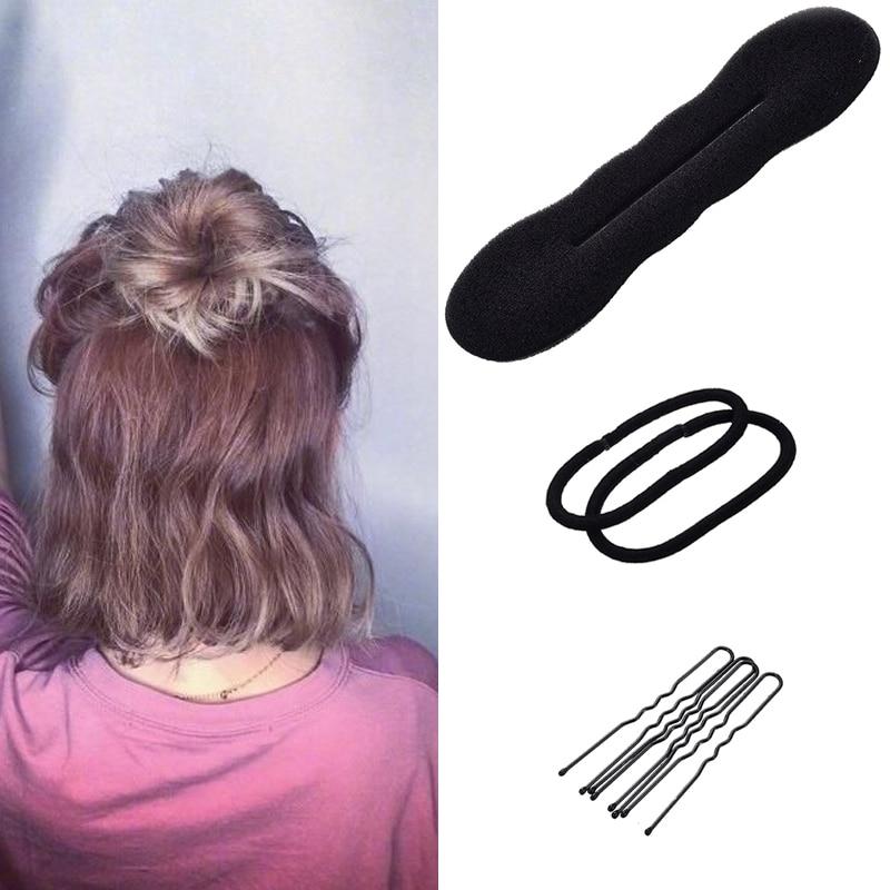 М мисм девочек пончик пена для волос половина булочка Боб производитель инструменты Элегантный французский твист киперной тесьмы оголовье...