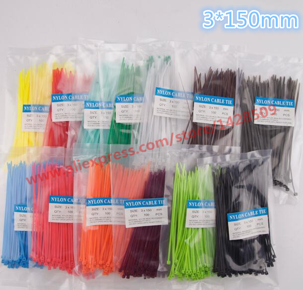 free ship 2*100Pcs/bag 3X150MM Self-Locking Colorful Factory Standard Self-locking Plastic Nylon Cable Ties,Wire Zip Tie newest 100pcs black 3x150mm nylon plastic zip trim cable loop ties wire self locking hot sale