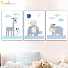 Cartoon Elephant Nursery Wall Art Canvas Painting Nordic Poster Wall Pictures For Living Room Baby Kids Room Decor Unframed цена