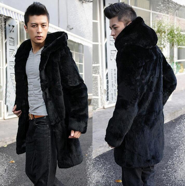Autumn winter men overcoat hood thermal thicken faux fur coats mens leather mink hair fur coat men jaqueta de couro plus size